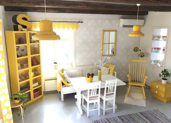 Elluyellow keltainen vintagekeittiö