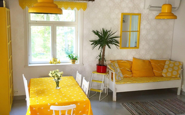 Elluyellow keltainen retro keittiö