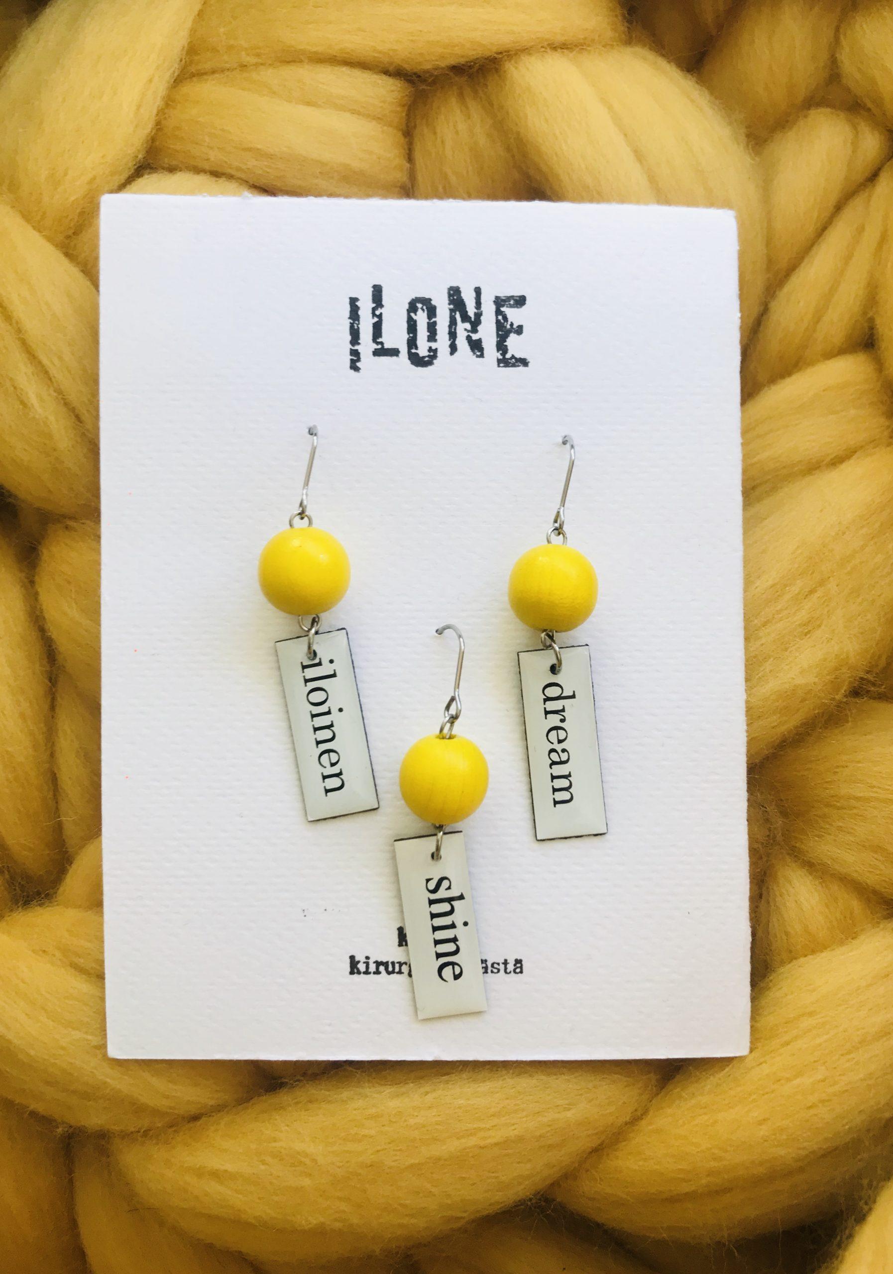 Elluyellow keltaiset käsityönä tehdyt korvakorut