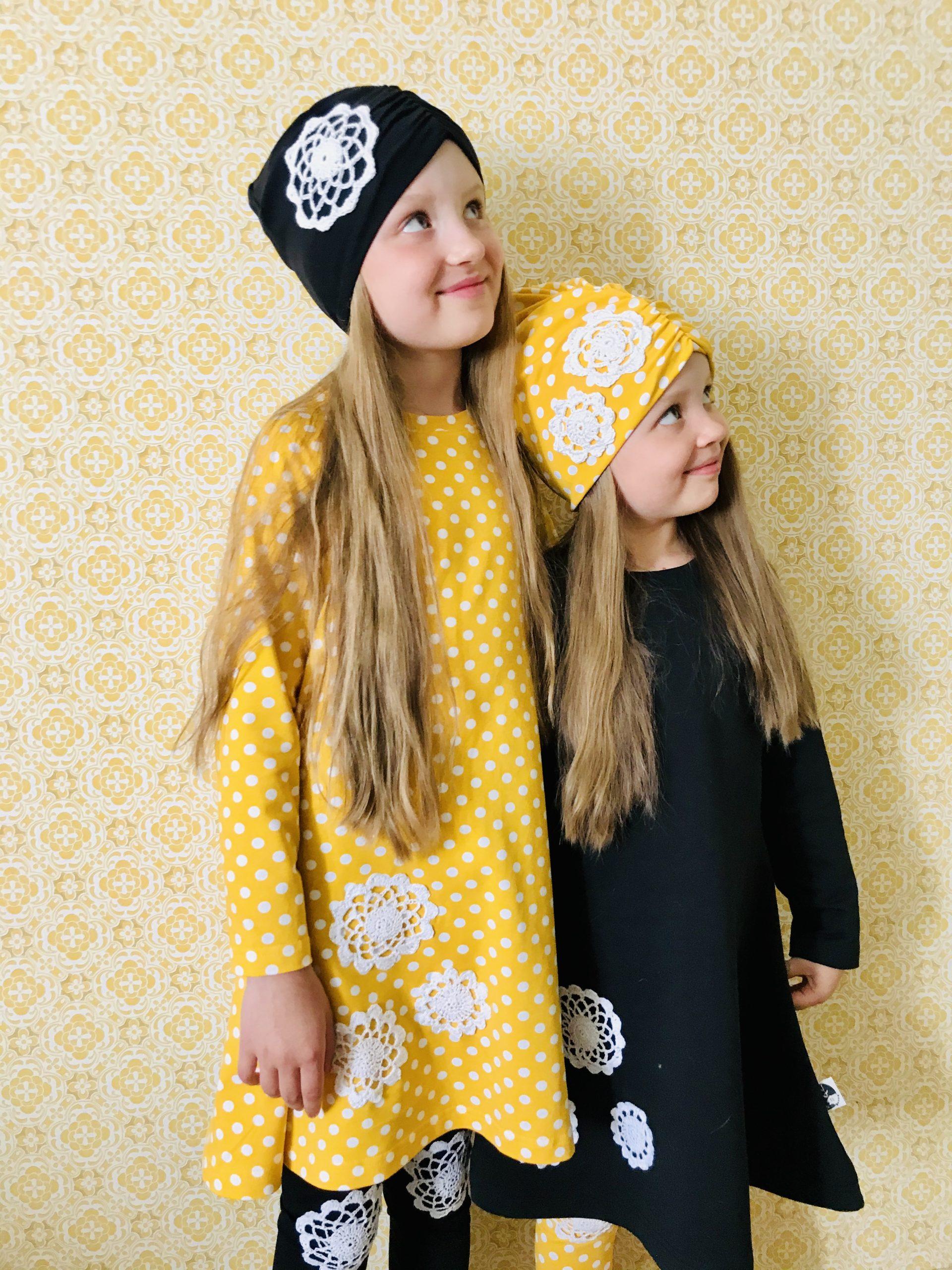 YellowQuun kotimaiset keltaiset lastenvaatteet Elluyellow'n tyttärillä