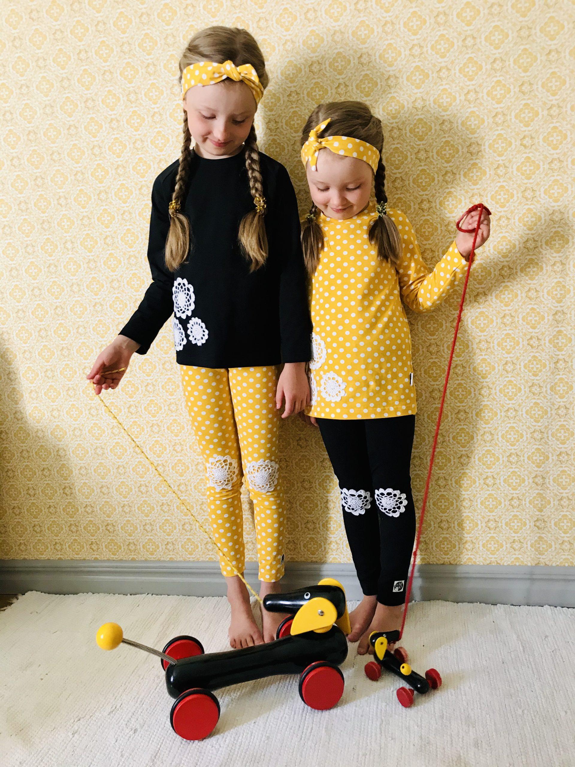 YellowQuun keltaiset kotimaiset lastenvaatteet Elluyellow'n tyttärillä