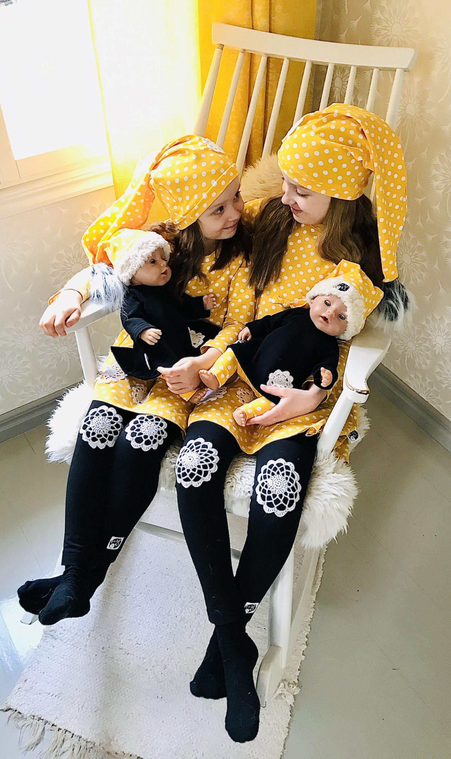Elluyellow tyttäret YellowQuu -jouluvaatteissa